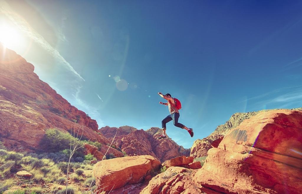 Man Fun Outdoor Jumping Joyful Happy Athletic