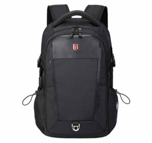 Front view of black Swissruigor black backpack
