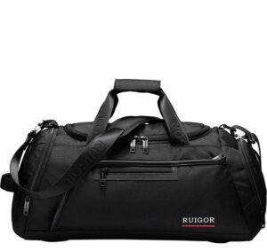 Side view of the black Swissruigor duffel bag