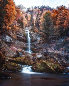 Waterfalls in Switzerland - GIessbach Autumn